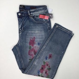EARL JEANS Painted Floral Print Ankle Jeans Sz 14